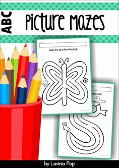 Alphabet Mazes for developing pencil control Mazes are a really fun way to develop pencil control because they provide kiddos with the opportunity to practice moving their pencil along a path, stopping at specific points, and changing direction before continuing towards the end.