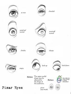 """Pixar Eyes Reference by ~Suu999 on deviantart -- """"I sketched some Pixar eyes to show how squashy-stretchy eyes work. Enjoy! ^_^ """"  #eyes #drawings #theeyes:"""