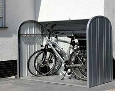 Dustbin boxes & bicycle garage made of metal Biohort - Modern Garage Velo, Bicycle Garage, Bike Shed, Garages, Bike Storage Design, Garage Apartment Floor Plans, Garage Apartments, Outdoor Bike Storage, Front Yard Fence