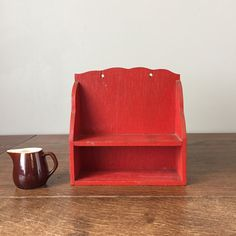 Tiny Wooden Kitchen Shelf or Spice Rack in Delicious Red Farmhouse Chic, Vintage Farmhouse, Wooden Shelves Kitchen, Filigree Design, Red Kitchen, Ginger Jars, Rustic Decor, Color Pop, Vintage Inspired