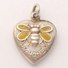 Vintage Sterling Silver Enamel 'Bee My Honey' Puffy Heart Charm