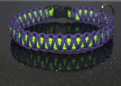 King Cobra Paracord Dog Collar Purple and Lime by BlackdogParacord
