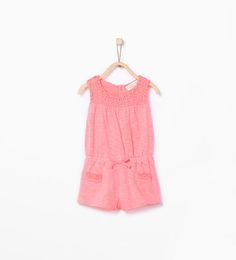 Image 1 of Guipure lace organic cotton dungarees from Zara