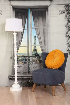 Fake French Fabric Vistas - The Paris Window Tapestry Provides a Faux Eiffel Tower View