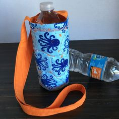 Bottle Bag, Insulated Drink Cozie, Sports Drink Carrier, Child's Water Holder, Octopus Tote Bag, Drink Tote Bag, Lunch Accessory, Beach Bag by JennyWrensGifts on Etsy