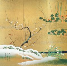 Resultado de imagen de Birds and Flowers of the Twelve Months Sakai Hōitsu Japanese Art Styles, Japanese Prints, Feuille D'or, Japanese Screen, Nature Illustration, Painted Leaves, Japanese Painting, Japan Art, Old Art