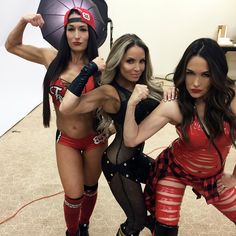 Nikki Bella, Trish Stratus, and Brie Bella Trish Stratus, Brie Bella Wwe, Nikki And Brie Bella, Wwe Total Divas, Nxt Divas, Wrestling Divas, Women's Wrestling, Bella Sisters, Total Divas