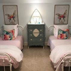 In-progress shot of a sweet little girls' room that's coming right along. Shared Bedrooms, Kidsroom, Happy Easter, Little Girls, Interior Design, Amanda, Inspiration, Furniture, Sweet