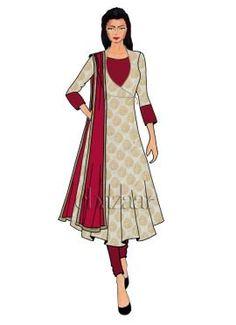 Cream Art Silk Angrakha Anarkali Suit