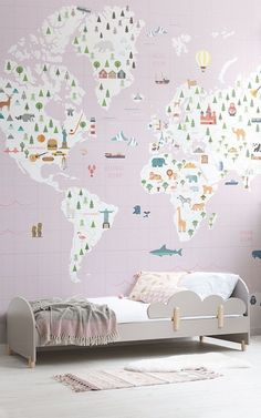 Baby girl bedroom ideas nursery wallpaper girls create a cute decor Childrens Bedroom Wallpaper, Bedroom Wallpaper Murals, Wallpaper Decor, Girl Wallpaper, Wallpaper Ideas, Wallpaper Designs, Cute Girls Bedrooms, Kids Bedroom, Bedroom Decor