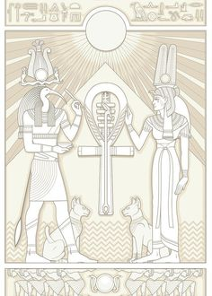 Thoth Greeting Card featuring the digital art Thoth And Isis by Matthew Kocvara Egyptian Drawings, Egyptian Tattoo, Egyptian Artwork, Anubis, Egypt Tattoo Design, Ancient Egypt Art, Tattoo Photography, Egyptian Mythology, Magical Creatures