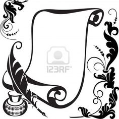 Scroll pen, ink and stylized floral pattern. Stock Photo - 11650673
