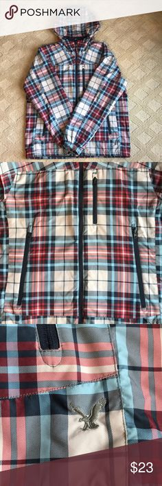 LIKE NEW Men's' American Eagle Winter/Ski Jacket Gorgeous plaid print - light blue, navy, red, and grey.   Like new. Smoke free, pet free home.   Light weight. Perfect for winter activities - skiing and snowboarding. Drawstrings on inner bottom lining if you like a more fitted style. American Eagle Outfitters Jackets & Coats Ski & Snowboard