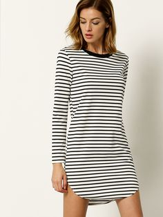 White Long Sleeve Striped Dress