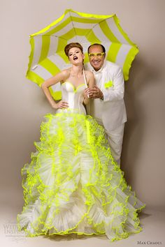 max chaoul couture bridal 2013 adriana neon green wedding dress Oh my goddess.this with turquoise for the white and the neon Wedding Fotos, Green Wedding Dresses, Dress Wedding, Boho Vintage, Stunning Wedding Dresses, Steam Punk, Wedding Styles, Wedding Ideas, Bridal Gowns