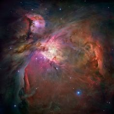 Orion Nebula's (M42) glowing gas surrounds young stars at the edge of an immense interstellar molecular cloud 1,500 light-years away. It provides an intimate look at a range of ongoing stages of starbirth and evolution. Captured by the Hubble