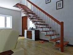 Лестница прямая деревянная модульная от компании Мир Лестниц