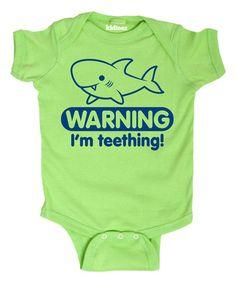 Loving this Key Lime 'Warning I'm Teething' Bodysuit - Infant on #zulily! #zulilyfinds @set5v9
