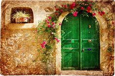 piedra, flores, verde