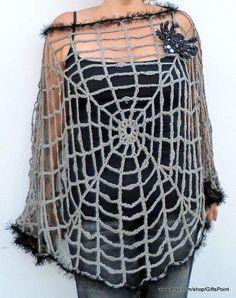Halloween Clothing Spider Web Plus Size Poncho Goth Grunge
