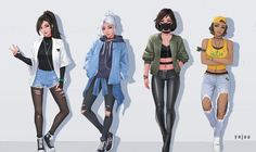 """ArtStation - All valorant waifu in casual outfit, Tristan """"Yajuu"""" Bour Female Character Design, Character Design Inspiration, Character Art, Cartoon Outfits, Anime Outfits, Cartoon Girl Drawing, Girl Cartoon, Cool Anime Girl, Anime Art Girl"""