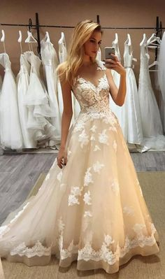 Champagne Lace Applique Prom Dress, Sheer Neck Sleeveless Sweep Train Prom Dress,Illusion A Line Dresses ,Evening Wear Champagne Applique