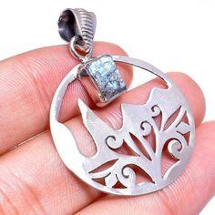 Labradorite Rough Gemstone Filigree Pendant 925 Sterling Silver Jewelry #Handmade