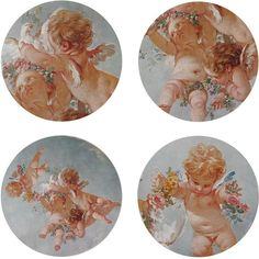Boho & Co Cherubs - Round Placemats Set of 4 ($31) ❤ liked on Polyvore featuring home, kitchen & dining, table linens, art, multi, floral placemats, round table mats, round place mats, round placemats and round table linens