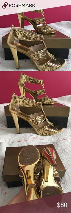 Michael Kors Heeled Sandals Michael Kors Berkley Sequined T-strap Sandal- Metallic Gold. Never worn outside. Bottoms in great condition. Pictures show at your discretion. Zipper pull in front sequin detail makes for a great night out. Michael Kors Shoes Heels