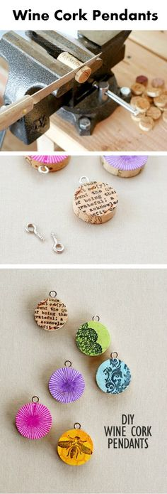 DIY Wine Cork Pendants - could use paper/glue instead of stamps/ink?