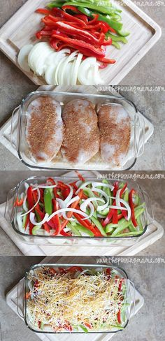 Easy Fajita Chicken Bake Recipe. So simple and tasty! I used a fajita seasoning and cut the chicken into strips. I served mine over brown rice and the boys in tortillas.The next time I would add the cheese at the end. This was good and easy will make again!