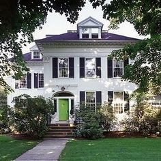 LOVE THE COLORS!!White House with Bright Green Door- love the attic windows- I want to do that at my house!!!!
