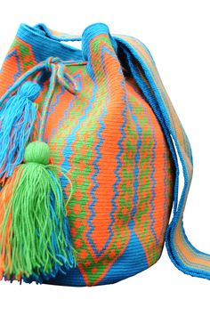 Neon Aqua Blue Orange and Green Boho Geometric Purse with Tassels // Traditional Wayuu Mochila Bucket Bag // Azulina Wayuu $198