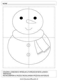 Schede logico-matematiche per l'inverno - Fantavolando Christmas Worksheets, Graph Paper Art, Crafts For Kids To Make, Educational Games, Winter Time, Pre School, Preschool Crafts, Activities For Kids, Snowman