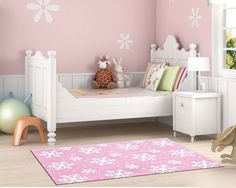 A Pink Snowflake rug is a great addition to a girls bedroom, especially if she is an ‪‎Elsa‬ fan from ‪#‎Frozen‬!