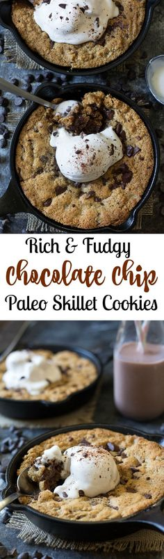 Paleo chocolate chip skillet cookies that are easy to make, rich and fudgy and packed with chocolate! Top with coconut ice cream for the ultimate Paleo dessert! Obviously use dairy free choc chips Paleo Dessert, Paleo Sweets, Gluten Free Desserts, Healthy Desserts, Dessert Recipes, Skillet Chocolate Chip Cookie, Paleo Chocolate Chips, Skillet Cookie, Chocolate Cookies