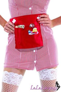 Snap Front Candy Striper Costume