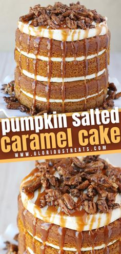 Say hello to the ultimate fall dessert! Made from scratch with a moist, flavorful pumpkin cake dressed with layers of salted caramel frosting, candied pecans, and even more caramel, this impressive dessert is a gorgeous addition to your Thanksgiving menu. Save this pin!