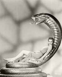 I might need my own Cobra Recliner...Maria Montez in a publicity still from  the film, 'Cobra Woman'.