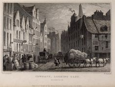 Edinburgh, engraving of the Cowgate, looking east. Titled, 'Cowgate, looking…