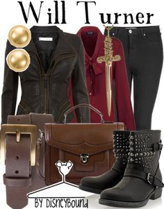 Will Turner by Disneybound Fitted leather jacket, maroon blouse, black skinnies, boots I want that jacket.