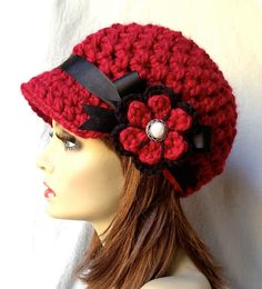 Crochet Womens Hat Newsboy Cranberry Red Very by JadeExpressions, $40.00
