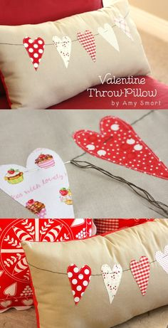Sewing Pillows Valentine Throw Pillow Tutorial - Valentine Throw Pillow Tutorial by Diary of a Quilter Diy Valentine's Pillows, Sewing Pillows, How To Make Pillows, Decorative Pillows, Pillow Ideas, Diy Craft Projects, Sewing Projects, Sewing Crafts, Diy Crafts