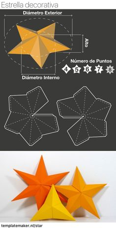 Unlimited, free and custom sized STAR SHAPE templates. 3d Paper Art, Paper Crafts Origami, Diy Origami, Diy Paper, Christmas Paper, Christmas Crafts, Shape Templates, Star Template, Print Templates