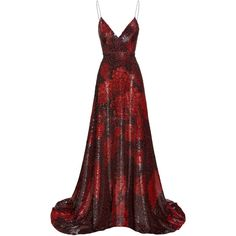 Dresses ($16,825) ❤ liked on Polyvore featuring dresses, gown, v neck sequin dress, silk gown, red ball gown, red v neck dress and red a line dress