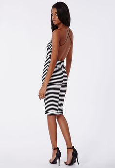 Freda Ribbed Striped Open Back Dress