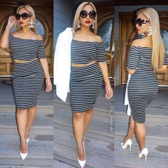 Spring Summer Fashion Outfit OOTD Stripe Bodycon Two Piece Off The Shoulder Crop Top Skirt White Pointy High Heels Style Trend Fashionista Classy Elegant Shades MsBoss4U
