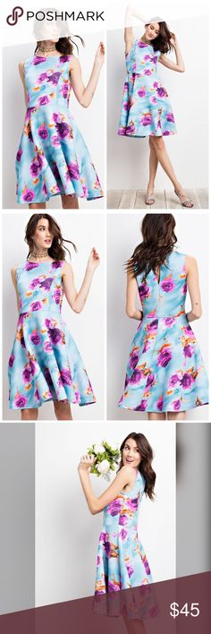 PREORDER Lovely Floral Ponti Print Dress! 🌸 Description: SUPER SWEET AND LOVELY FLORAL DRESS FEATURED IN AN SLEEVE LESS SILHOUETTE AIR CUSHION PONTI PRINT SKATER DRESS (MODEL HEIGHT 5'10) Dresses