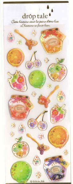Kawaii Japan Sticker Sheet Assort Droptale Series: Fruits Jam Jars Lemon Orange Lime Drop Stars Apples Flowers Berries Cherries
