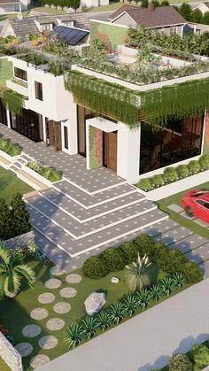 Best Modern House Design, Modern Exterior House Designs, Sims House Design, Village House Design, Bungalow House Design, Dream House Exterior, Exterior Design, House Outside Design, House Front Design